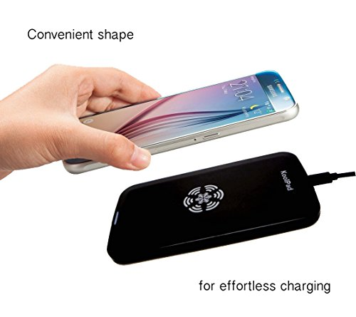 KoolPad Qi Wireless Charging Pad compatible with Samsung Galaxy S8, S8+, S7, S7 Edge, S6, Note 5, LG G6, iPhone 7, 7 Plus, SE, 6S & 6S Plus with iQi Mobile, Galaxy S5, 4 with SlimPWRcard & more - Qi Cradle Note 4