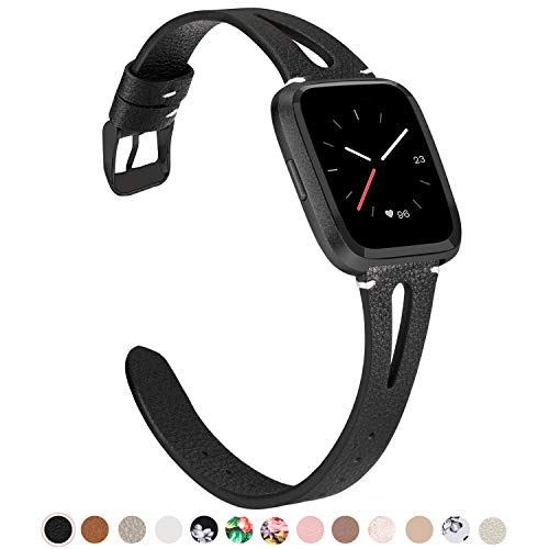 - TOYOUTHS Breathable Strap Compatible with Fitbit Versa Bands Slim Genuine Leather Smartwatch Wristbands Replacement for Versa Lite Special Edition Handmade Accessories for Women Men Black+Black Buckle