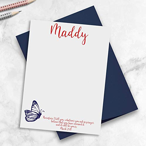 Personalized Christian Note Cards for Teens, Monarch Butterfly Stationery, Choose Ink and Quantity ()