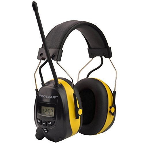 Protear Radio Headphones Hearing Protector Safety Earmuffs AM/FM Electronic Noise Reduction Rate 25dB for Mowing Working-Yellow
