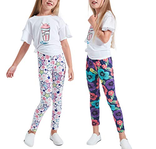 LUOUSE Girls Stretch Leggings Tights Kids Pants Plain Full Length Children Trousers, Age 4-13 -