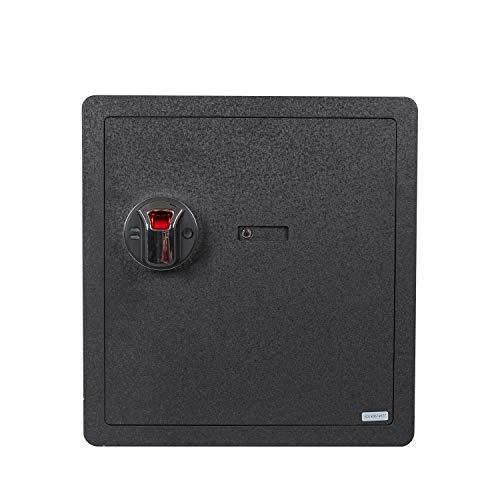 Fingerprint Security Safe Box Waterproof Lock Box Cabinets Gun Pistol Cash Strongbox Solid Steel Safety Jewelry Storage Money Boxes w/Deadbolt Lock 2 Emergency Keys 4 Battery Wall-Anchoring