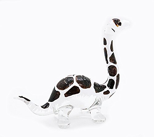 Handmade Mini Brontosaurus Art Glass Blown Jurassic Dinosaur Figurine Miniature