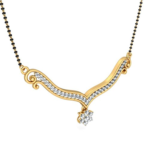 14 K jaune Or 0.79 carat au total White-diamond (IJ | SI) Mangalsutra