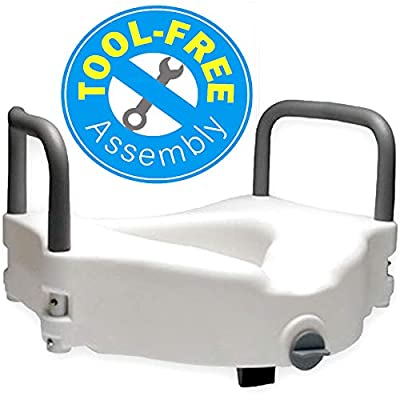 """Medokare Handicap Toilet Seat Riser - 5"""" Elevated Toilet Seat Risers for Elderly, Portable Raised Toilet Seat with Handles, Disabled Medical Riser Seat with Arms"""