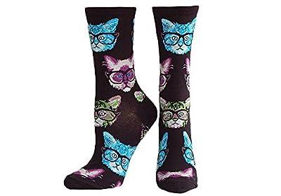 Socksmith Women's Black Kittenster Crew Socks, 9-11