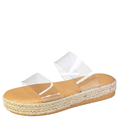 BAMBOO Women's Two-Band Espadrilles Platform Slide Sandal, Clear PVC, 7.5 B (M) US