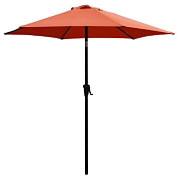 COBANA 7.5Ft Patio Garden Outdoor Market Umbrella with Tilt and Crank Orange