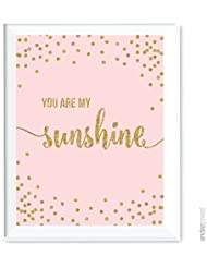 Andaz Press Blush Pink Gold Glitter Girl's 1st Birthday Party Collection, Wall Art Gift, 8.5x11-inch, You Are My Sunshine, 1-Pack, Unframed, Baby Shower Nursery Decor
