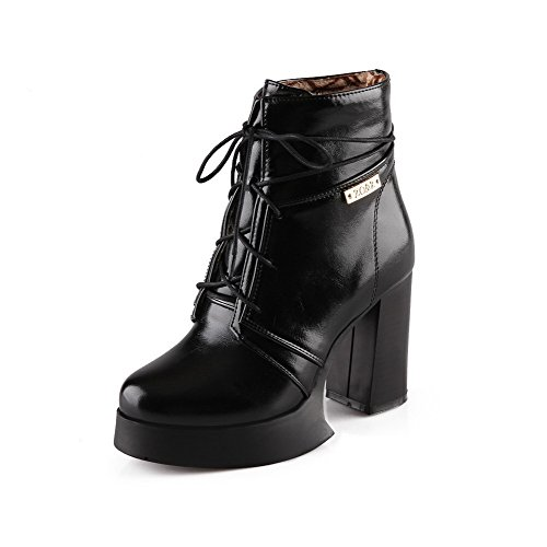 Toe AgooLar up Women's Black Soft High Round Heels Top Closed Boots Material Low Lace IPdrIq
