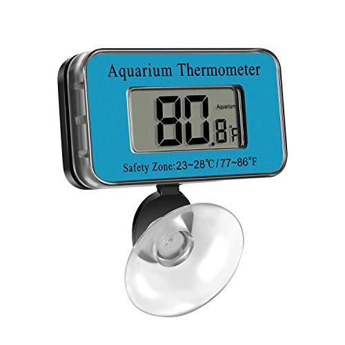 Aquarium Thermometer LCD Digital Waterproof Thermometer with Suction Cup Fish Tank Water Temperature for Fish Like Betta