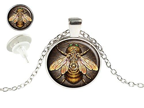 Heilong Steampunk bee Custom Design Alloy Silver Pendant Necklace Stud Earrings Set Gift
