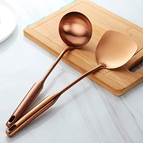 (NAYAHOSE 2 pieces stainless steel handle spoon, wok shovel, anti-scalding design (Rose))