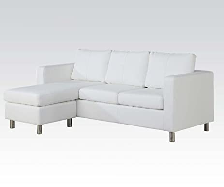 ACME 15068 Kemen Reversible Chaise Sectional with White Bycast PU  sc 1 st  Amazon.com : sectional amazon - Sectionals, Sofas & Couches