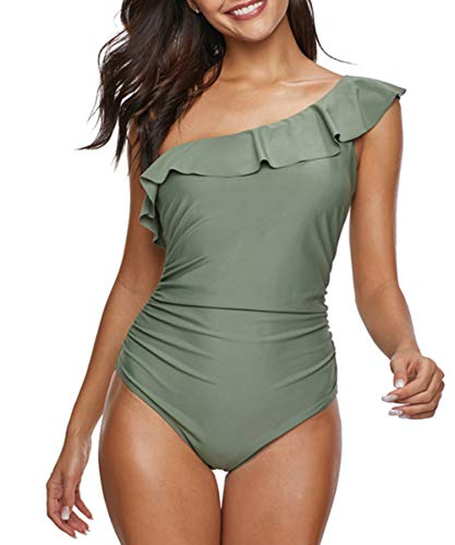 - Womens One Piece Swimsuits for Women Swimsuit Sexy Bathing Suits One Shoulder Monokini Ruffle Tummy Control SwimwearGreen XX-Large (fits like US 12-14)
