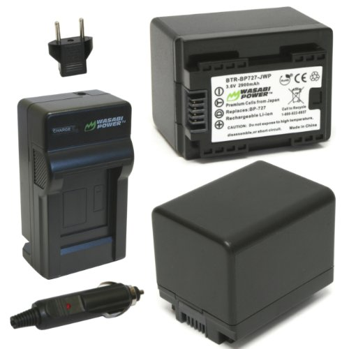 Wasabi Power Battery (2-Pack) and Charger for Canon BP-727 (2900mAh)