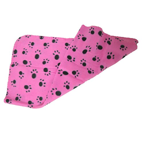 vmree Dog Blanket, 70 x 60CM Warm Small Pet Mat Large PAW Print Cat Dog Puppy Fleece Blanket (D, 7060cm)
