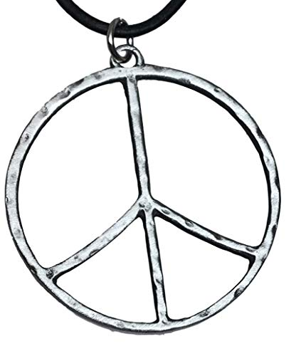 Trilogy Jewelry Pewter Hammered Peace Sign Large Pendant on Leather Necklace ()