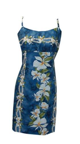 Jade Fashions Inc. Women Hawaiian Cotton Short Spaghetti Strap Blue Ginger Dress-Blue-M (Jade Empire Guide)