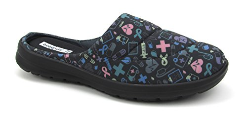 Women's Cute Shoes with Nursing Designs - Memory Foam Printed Mules - Florence Fresh Black With Colorful Hospital Icons