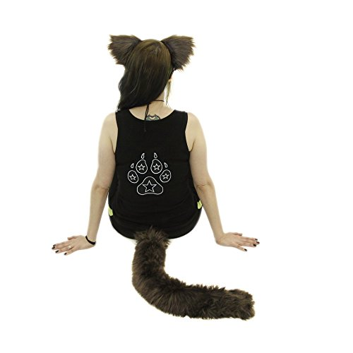 [Pawstar Furry Kitty Cat Mew Ear Headband and Tail Combo Costume Cosplay Set - Brown] (Brown Cat Ears)