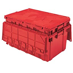 Buckhorn AR2717120202000 Attached Lid Flip Top Storage and Distribution Plastic Tote, 27-Inch x 17-Inch x 12-Inch, Red