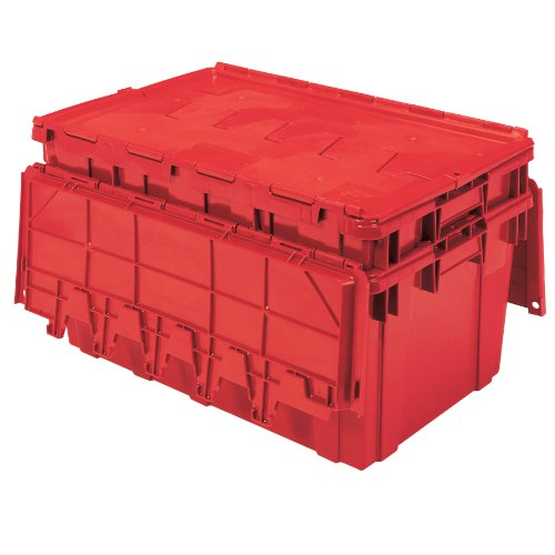 Buckhorn AR2717120202000 Attached Lid Flip Top Storage and Distribution Plastic Tote, 27-Inch x 17-Inch x 12-Inch, - Lid Storage Attached