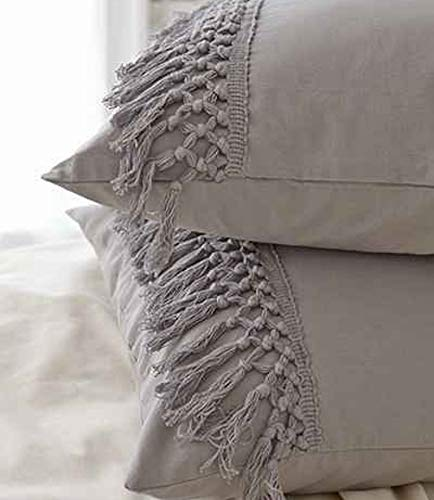 Flber Grey Pillows Tassel Sham C...