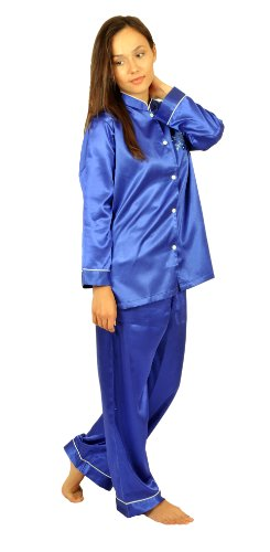 Satin Charmeuse PJ Sets, Mandarin Collar, Special Introductory Price, 5 Color Choices, Sizes (S,M,L,XL) (Small, Royal (Silk Charmeuse Pants)