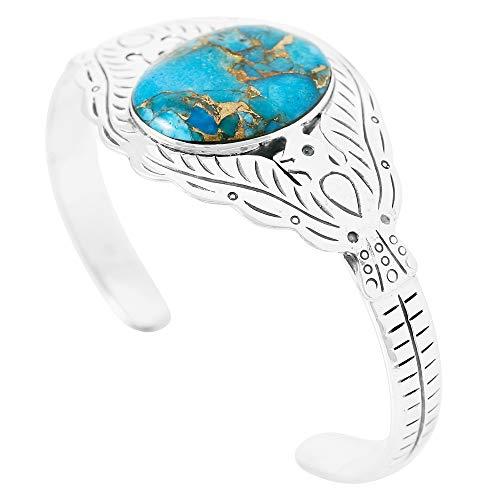 (Thunderbird Turquoise Bracelet Sterling Silver 925 Genuine Turquoise Gemstones Cuff Bracelet (Teal/Matrix Turquoise))