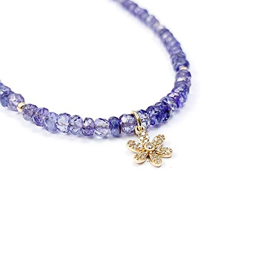 - Solid 14k Gold Pavé Diamond Flower Charm Purple Tanzanite Choker Necklace - 16 Inches Long Handmade Necklace by Miller Mae Designs