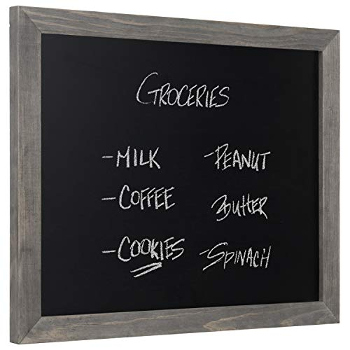 MyGift Wall-Mounted Chalkboard Sign with Rustic Gray Wood Frame