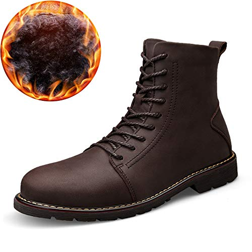 (Hilotu Men's Fashion Ankle Boots Casual Comfortable Cowhide High Top Chukka Boots(Warm Velvet Optional) Anti-Slip (Color : Brown Black, Size : 6.5 D(M) US) )