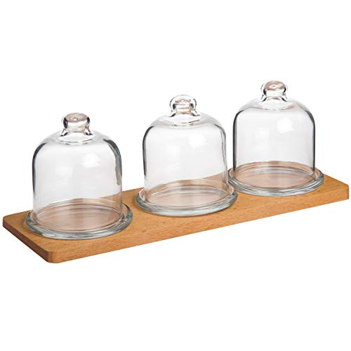 Wooden Serving Tray With 3 Glass Caps   Decorative Cake, Cookie Serveware   Tabletop, Countertop Display for Pastry   Home Accessory For Breakfast, Party ()