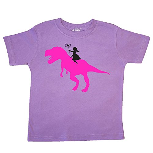 inktastic - Princess Riding her T-Rex Toddler T-Shirt 4T Lavender 1046c from inktastic