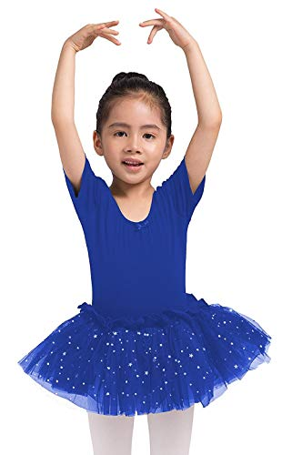 Dancina Leotard Sparkle Tutu Dress Short Sleeve Cute Little Girls Cotton Ballet Dance Outfit 2T Royal Blue -
