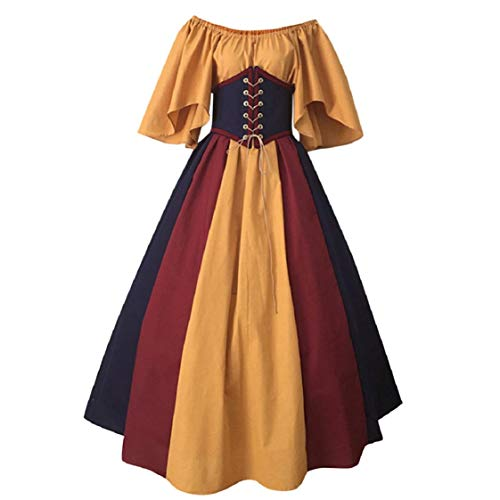 Ruffle Slash Neck Vintage Maxi Dresses Womens Middle Age Maid Cosplay Costume Lace Up Emperor Waist Floor Length Dress Yellow
