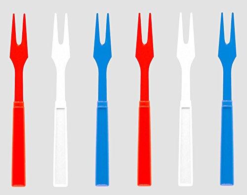 Patriotic Appetizer & Cocktail Forks, 60 Red White Blue Plastic Hors d'oeuvre Forks, 3.25