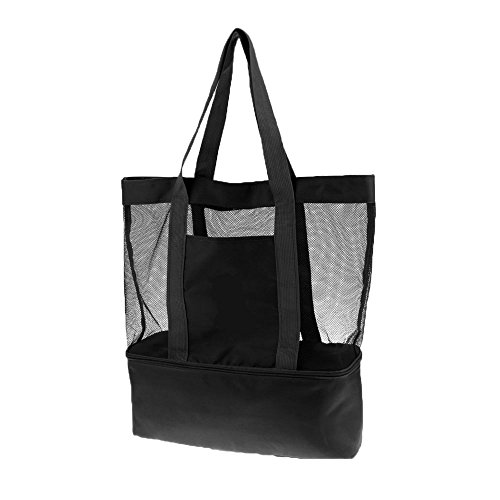 Mesh Beach Tote Cooler Bag with Insulated Picnic Cooler Dry Wet Depart Bag