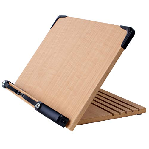 A+ Book Stand BS1500 Book Holder w/Adjustable Foldable Tray and Page Paper Clips-Cookbook Reading Desk Portable Sturdy Lightweight Bookstand-Textbooks Bookstands-Music Books Tablet Cook Recipe ()