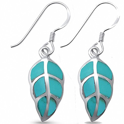 (Leaf Drop & Dangle Earrings 925 Sterling Silver Simulated Turquoise)
