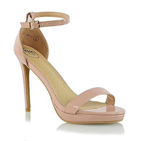 Essex Glam Womens Platform High Heel Peep Toe Ankle Strap Sandals Shoes (7 B(M) US, NUDE PATENT) - Patent Strappy Stiletto Heel