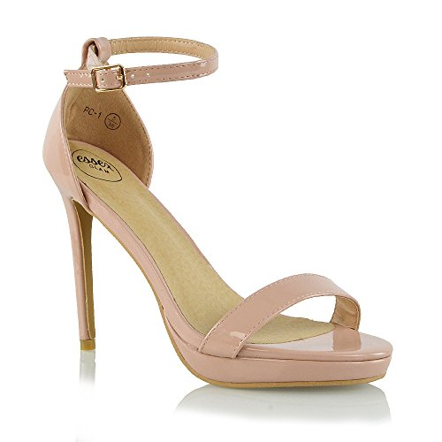 Ankle Strap Patent Leather Sandals - 8