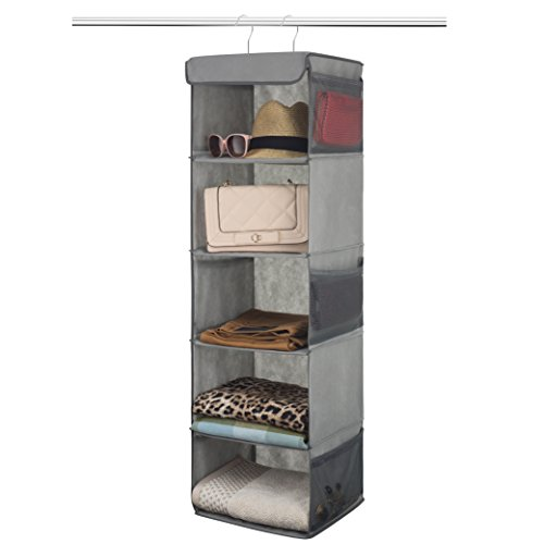 Zober 5 Shelf Hanging Closet Organizer Space Saver, Roomy Breathable Hanging Shelves With (6) Side Accessories Pockets, And 2 Sturdy Hooks, For Clothes Storage, And Shoes, Etc. 12 x 11 - 2 Slipper Socks Pack
