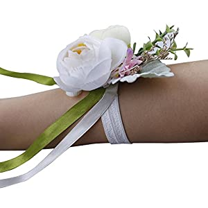 YSUCAU Wrist Corsage and Boutonniere Set, Brooch Bouquet Corsage Classic Artificial Groom Bride Bridesmaid Corsage Flowers with Pin for Wedding Prom Party 3