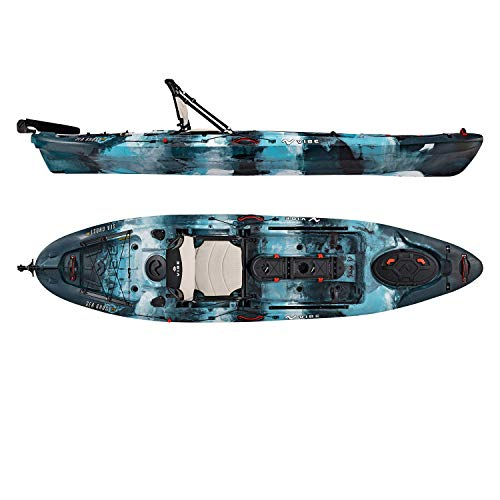 Vibe Kayaks Sea Ghost 110 | 11 Foot | Angler Sit On Top Fishing Kayak with Adjustable Hero Comfort Seat (Blue Camo)
