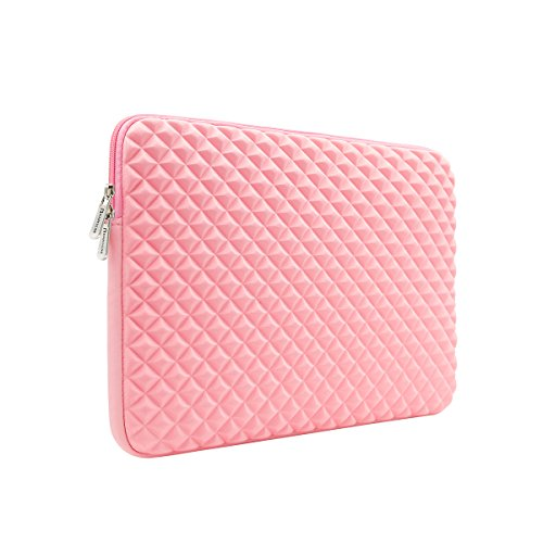 RAINYEAR 15.6 Inch Laptop Sleeve Diamond Foam Water&Shock Resistant Computer Case Cover Carrying Bag Compatible 15.6 Chromebook Notebook Ultrabook for Dell HP Lenovo Thinkpad Samsung Asus Acer(Pink)