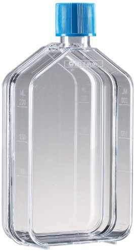 Bd Falcon Cell - BD 353108 Falcon Polystyrene Cell Culture Flask with Blue Vented Screw Cap, Canted Neck, 25 Sq cm Growth Area, 50mL Capacity (Case of 100)