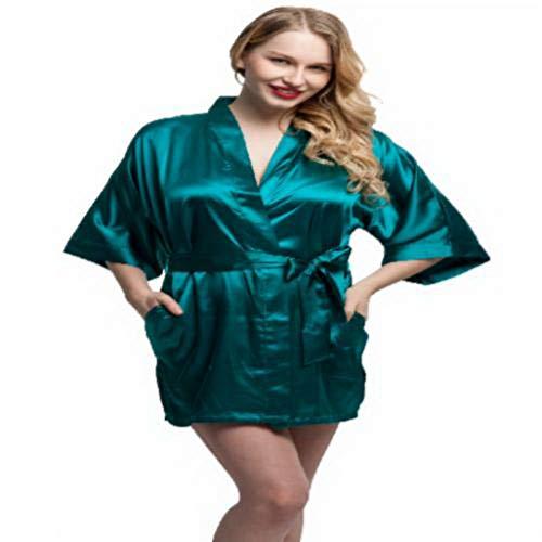 Satin Woven Bustier - Fashion Women Short Satin Kimono Robes Women Knee Length Sexy Lingerie Sleepwear Fashion Nightwear Bride Bridesmaid Robes L Dark Green