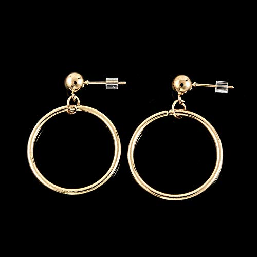 Monowi Fashion Women Silver Gold Plated Big Circle Smooth Large Ring Hoop Earrings Gift | Model RNG - 7490 |